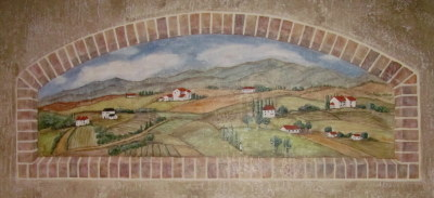 Tuscan window mural at Olympia Resort